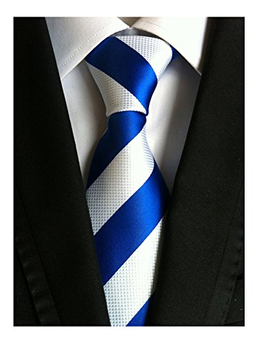 Candy Stripe Hoodie Top - Men's Classic Blue White Stripe Tie Jacquard Woven Silk Tie Necktie + Gift Box
