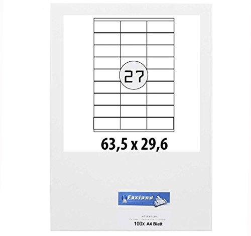 Etiketten 63.5 x 29.6 mm für Amazon FBA Versand, 27x je Blatt (100 A4 Blätter) - 63x29 weiße selbstklebende Faxland Versandetiketten