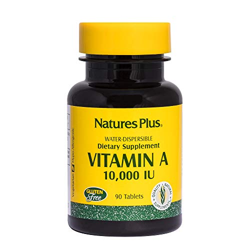 Natures Plus Vitamin A (Palmitate) - 10,000 IU, 90 Vegetarian Tablets - Eye, Vision, Immune, Macular & Ocular Support - Water Soluble Supplement for Maximum Absorption - Gluten Free - 90 Servings
