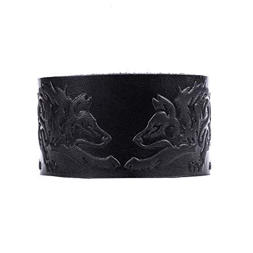 "Real Leather Viking Wolf Bracelet 6.3""- 7"" Wrist Adjustable Black Cuff Wrap Punk Wristband Stylish Accessory Gift Box from NOVA Leather Craft"