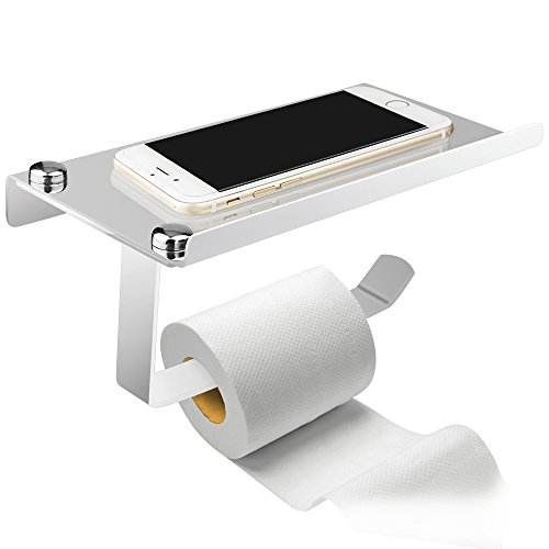 AOFU Wall Mount Toilet Paper Holder, Stainless Steel Bathroom Tissue Holder with Mobile Phone Storage Shelf
