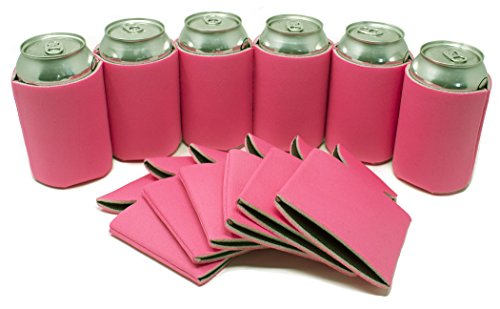 Personalized Party Beverage Cooler (TahoeBay 12 Can Sleeves - Hot Pink Beer Coolies for Cans and Bottles - Bulk Blank Drink Coolers – Create Custom Wedding Favor, Funny Party Gift (12-Pack))