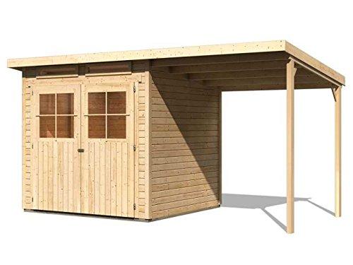 Karibu Gartenhaus Verona 3 inkl. Schleppdach natur SPARSET mit Fußboden selbstklebender Dachbahn