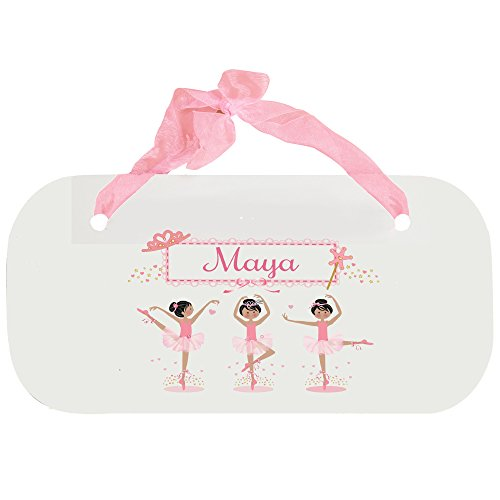 Personalized Ballerina Black Hair Wooden Door Hanger With Blue Ribbon by MyBambino