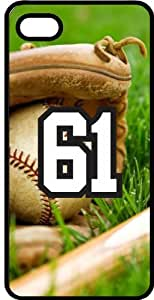 Baseball Sports Fan Player Number 61 Black Rubber Decorative iphone 5s Case