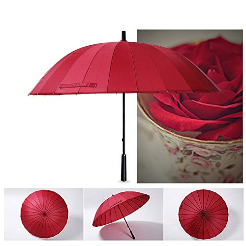 - Retrofish Manual Open & Close Waterproof Windproof Travel Stick Umbrella with 24 Ribs, Durable and Strong Enough (red)