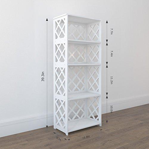 Rackaphile 4-Tier Bookcase Storage Shelf, Wood Plastic Waterproof Bookshelf Storage Organizer Shelving Unit Display Rack Book Shelf for Living Room Bathroom Office White by Rackaphile (Image #6)
