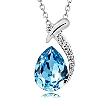 """[DEAL OF THE DAY] T400 Jewelers Gold Plated Water Drop Swarovski Elements Crystal Pendant Necklace 15"""""""