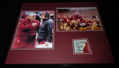 Coach Bobby Bowden Signed Framed 16x20 Florida State Photo Set w/ Jimbo Fisher B