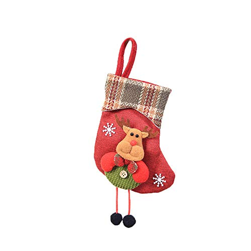 (Sunshinehomely Classic Christmas Stockings, Mini Sock Santa Claus Candy Gift Bag Xmas Tree Hanging Decor Snowman Stockings (B))