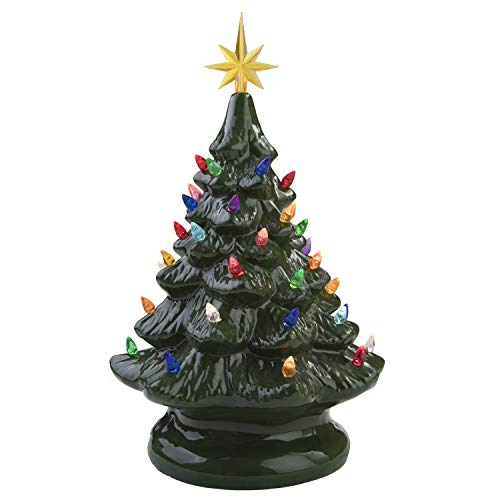 "Miles Kimball 14"" Retro Prelit Ceramic Tabletop Christmas Tree with 52 Multicolored Lights (Green)"