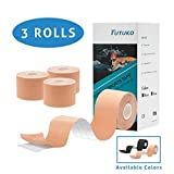 Kinesiology Tape Precut (3 Rolls), Tutuko Elastic Therapeutic Sports Tape for Knee Shoulder and Elbow, Reduce Pain and Injury Recovery, Breathable, Water Resistant, Latex Free, 2'' x 16.5 feet