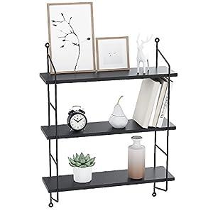 3 Tiers Rustic Floating Book Shelves Wall Storage Wood Shelf Mounted Wall Shelves (Black)