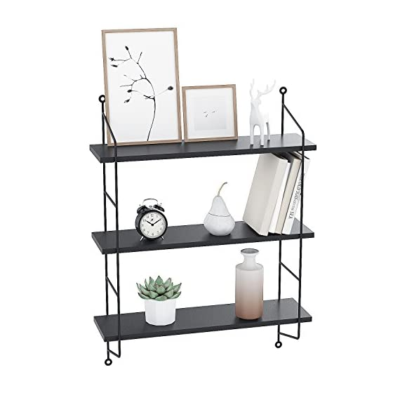 Floating Shelves Wall Mounted, Industrial Metal Frame Wood Wall Storage Shelves for Bedroom, Living Room, Bathroom, Kitchen, Office and More, 3 Tier(Black) - ♬➧Quite Deeper than Other Display Shelves: 19x 6 x 25 inches, and each tier 8 inch in deep, Good choice for Bigger CD and Books. Each Shelf can hold 50 lbs.【We promise 30 days Money-Back Guarantee, Worry-Free 36 Month Quality Warranty and friendly customer service for our products.】 ♬➧Functional Storage shelves: The floating shelves are composed of nature wood boards and metal brackets, fashionable and practical, useful for adding extra storage space to store and reorganize small items in your bathroom, bedroom, living room, kitchen, and more. A nice way to clear up the clutter. ♬➧Urban Chic and Useful Wall Shelves: Designed in urban chic style with wood and industrial metal brackets, the shelves are the perfect decoration to match Urban and industrial design elements. These shelves make a unique and decorative way to add storage space. - wall-shelves, living-room-furniture, living-room - 41PVvAz3X L. SS570  -