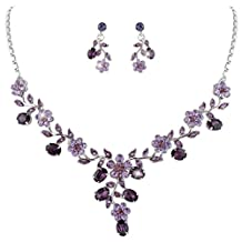 Ever Faith Wedding Leaf Vine Necklace Earrings Set Clear Austrian Crystal Silver-Tone N03848-1