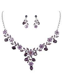 Ever Faith Wedding Leaf Vine Necklace Earrings Set Clear Austrian Crystal Silver-Tone N03848-1