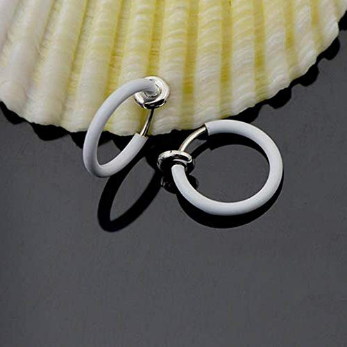 2PCS Fake Nose Lips Ring Spring Clip Hoop Earring Unisex Goth Piercing Septum (ColorID - -