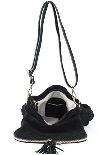 histoireDaccessoires - Bolso con Bandolera de Cuero de Mujer - SA144821GA-Gio Negro