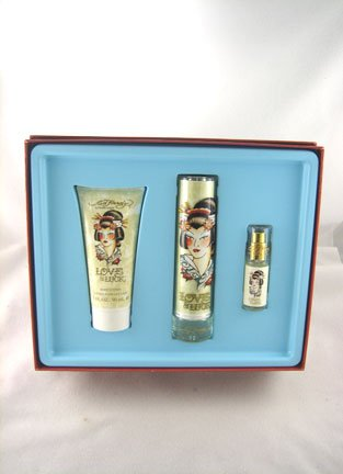 Ed Hardy 3 Piece Gift Set Love & Luck Special Value Gift Set 1.7 and .25 Oz. EDP and 3.0 Oz. Body Lotion Pour Le Corps (Love And Luck Ed Hardy Gift Set)