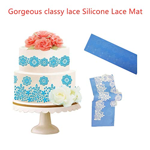 Finedayqi  Flower Rattan Fondant Mold Cake Decorating Tools Non-Stick Silicone Lace Mat