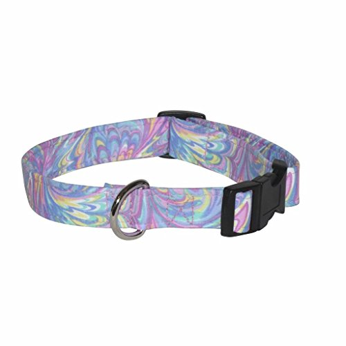 Pastel Time 100% Cotton Adjustable Cat Collar (Pastel Swirls - 7-11