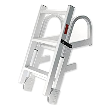 spareflying 4 Step Pontoon Boat Ladder, Stainless Steel Folding
