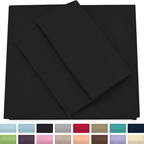 Premium Bamboo Bed Sheets - Full Size, Black Sheet Set - Deep Pocket - Ultra Soft Cool Bedding - Hypoallergenic Blend From Natural Bamboo - 1 Fitted, 1 Flat, 2 Pillow Cases - 4 Piece Flat Sheet Full Bedding