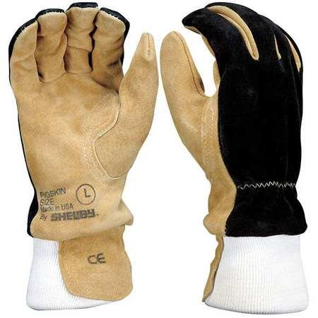Shelby Firefighters Gloves, L, Pigskin, PR, Beige/Black