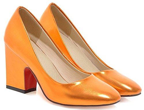 Idifu Womens Dressy Square Toe Tacchi Larghi Larghi Slip On Slip Giallo