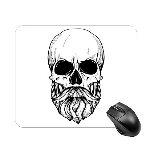 Uclipers Mouse Pad with Stitched Edges Mousepad with Skull with Hairstyle, Non-Slip Waterproof Mouse Pads for Computer, Laptop, Pc, Office & Home, 10