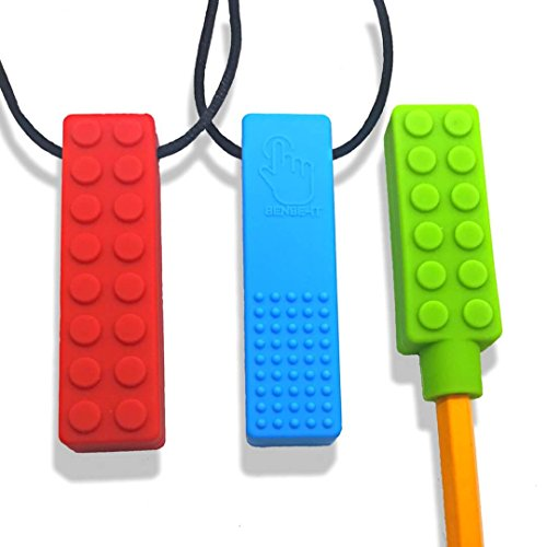 Sensory Toys For Autistic Children - Chew Brick Necklace Set Perfect For Teething Tactile and Chewing Relief w Chewable Chewlery Pencil Topper Boys and Girls w ADHD and Processing Disorders