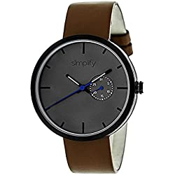Simplify Men's 'The 3900' Japanese Quartz Movement Metal Case and Leather Watch, Color:Brown (Model: SIM3904)