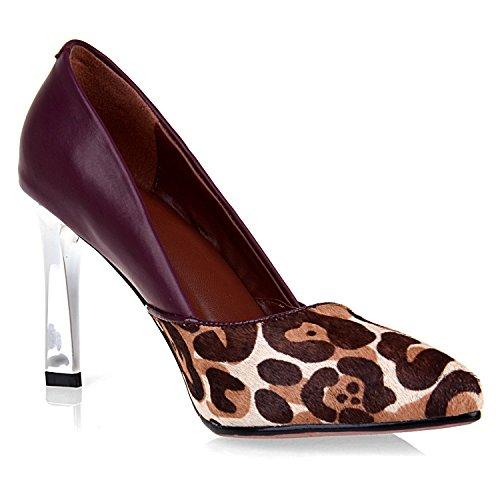 Scarpe Basse Con Tacco Alto Da Donna Con Stampa Leopardo Leopardata, Vino Rosso