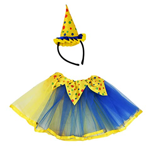 Set of Tutu Costume Set! Ice Princess, Witch, Clown, and Pumpkin Patch Fairy! Wings and Headbands! (Clown) -