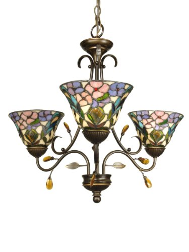 Dale Tiffany TH90214 3-Light Crystal Peony Chandelier, Antique Golden Sand and Art Glass Shade