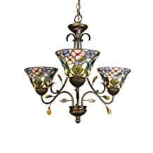 Dale Tiffany TH90214 Crystal Peony Chandelier, 3-Light, Antique Golden Sand and Art Glass Shade