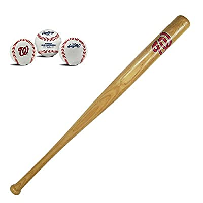 Washington Nationals MLB Natural Wood Mini Stadium 18in Baseball Bat and Ball Team Logo Collectors Gift Set Bundle Pack by Rawlings and Coopersburg Sports