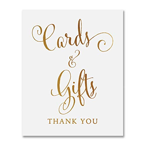 Cards & Gifts Gold Foil Print Wedding Reception Signage Gift Table Sign Party Decor Calligraphy Newlyweds Modern Metallic Poster 5 inches x 7 inches D35 -