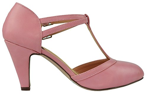 Chase & Chloe Dames Mary Jane T-strap Ronde Neus Pump Dusty Rose