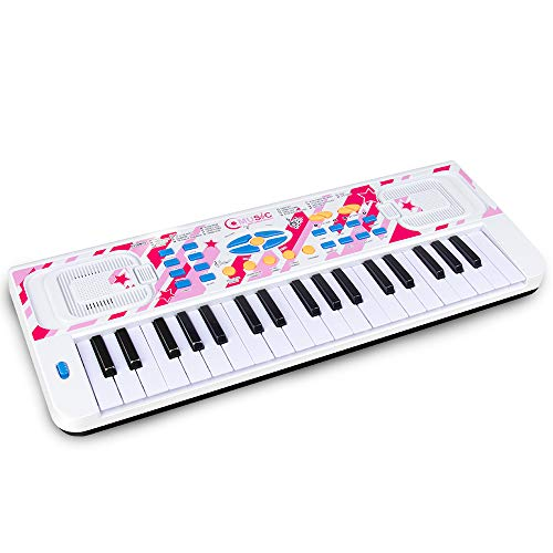 Love&Mini Kids Piano - Portable Electronic Musical Instrument 37 Keys Piano Toy for Toddler Early Learning Educational Keyboard with Microphone