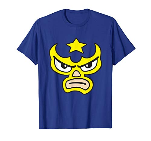 Luchador Love Yellow Mask Cartoon Face Graphic T-Shirt ()