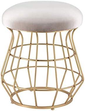 Round Dressing Stool/Vanity Stool Velvet Pouffe Gold Iron Base Upholstered Change Shoes Footstool 150kg Weight Capacity Load 38 45cm