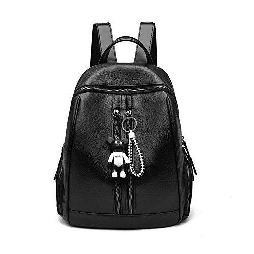 MSZYZ Todo Coincide con Bolsa de Cuero de Moda Señoras Mochila,Negro,30 * 26 * 14 CM. black