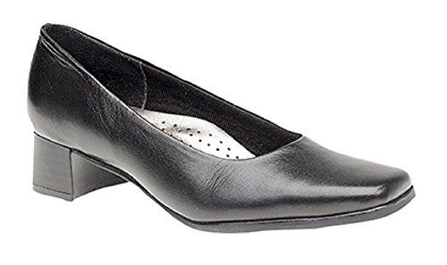 Mod Comfys TARA Ladies Low Block Heel Court Shoes Black Black qm0MX