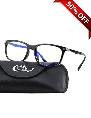 CGID CT46 Premium TR90 Frame Blue Light Blocking Glasses,Anti Glare Fatigue Blocking Headaches Eye Strain,Safety Glasses for Computer/Phone/Tablet,Rectangle Flexible Unbreakable Frame,Transparnet - Eyeglasses Light Blue Frame
