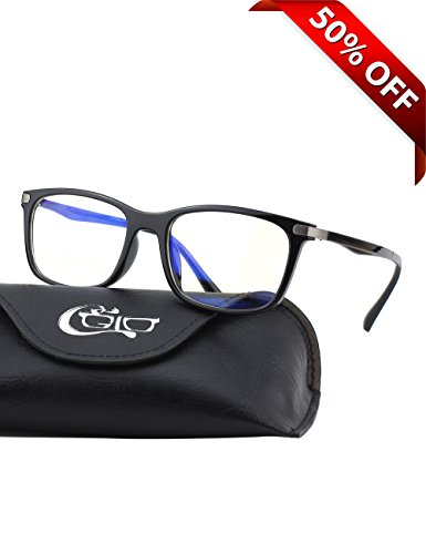 CGID CT46 Premium TR90 Frame Blue Light Blocking Glasses,Anti Glare Fatigue Blocking Headaches Eye Strain,Safety Glasses for Computer/Phone/Tablet,Rectangle Flexible Unbreakable Frame,Transparnet - Add To Frames Lenses