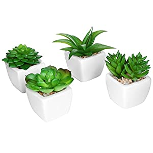 Set of 4 Modern White Ceramic Mini Potted Artificial Succulent Plants / Faux Plant Home Decor - MyGift®