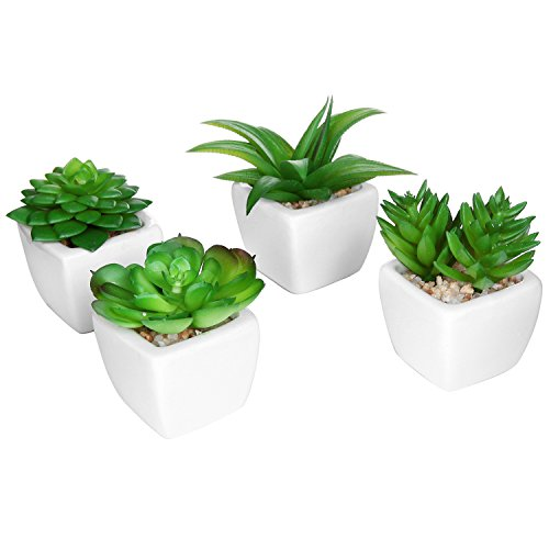 MyGift Set of 4 Modern White Ceramic Mini Potted Artificial Succulent Plants/Faux Plant Home Decor