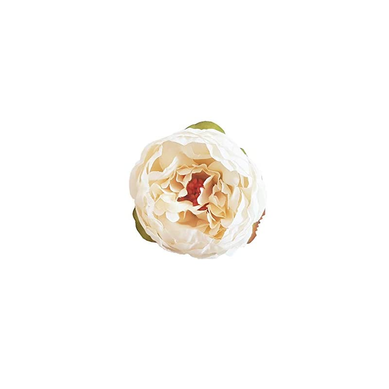silk flower arrangements tyoungg 20 pcs artificial peony flower heads silk flower 2 inch diamter for wedding home decor gift wrap garland diy flower head band making (autumn cream)
