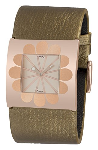 Moog Paris Petals Women's Watch with Rose Gold Dial, Brown Strap in Genuine Leather - M41742-003